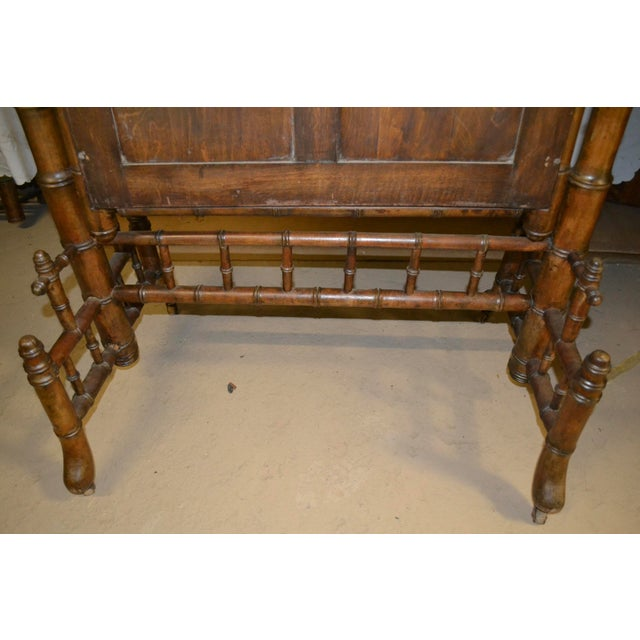 Brown 19th Century French Faux Bamboo Cheval Mirror For Sale - Image 8 of 9
