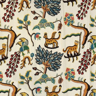 Scalamandre Fables Jawahar Crewel Fabric in Blue/Multi Sample For Sale