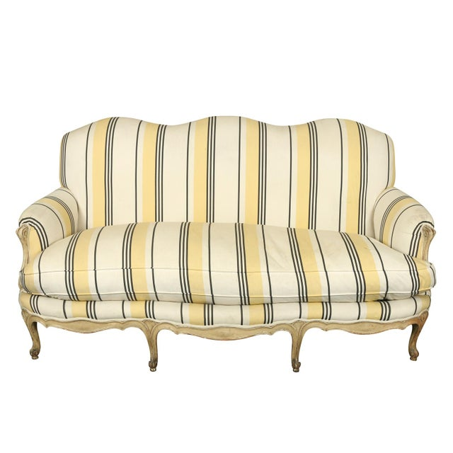 French Louis XVI Jansen Style Striped Sofa For Sale - Image 4 of 4