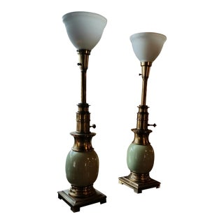 1960s Stiffel Brass and Sage Porcelain Ostrich Egg Table Lamps - a Pair For Sale