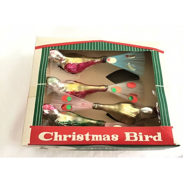 1950s Large Bright Silver Bird Clip Ornaments - Set of 4 For Sale - Image 4 of 5
