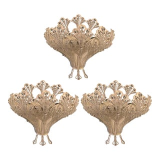 Set of Three Renaissance Style Schonbek Three-Light Wall Sconces For Sale