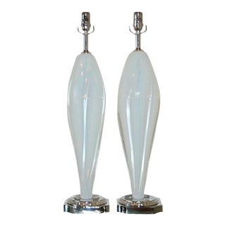 Vintage Murano Opaline Glass Table Lamps White For Sale