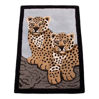 Contemporary Baby Leopard Animal Design Area Rug For Sale