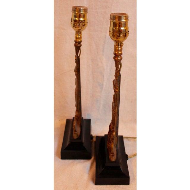 Vintage Bronze & Steel Urn Lamps - Pair - Image 4 of 5
