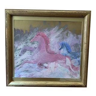 Vintage Horses Galloping Print Under Glass Framed For Sale