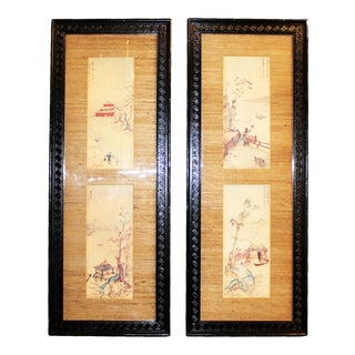 Vintage Chinoiserie-Style Artwork W/ High-Gloss Black Lacquered Greek Key Frames - a Pair For Sale