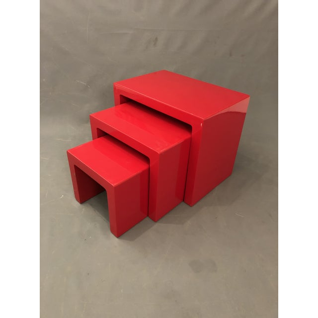 If you like mid century would love those vintage waterfall glossy red wood end tables Some ware on the finish from use &...
