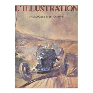 Matted Vintage 1928 Bugatti Automobile French Print by Geo Ham For Sale
