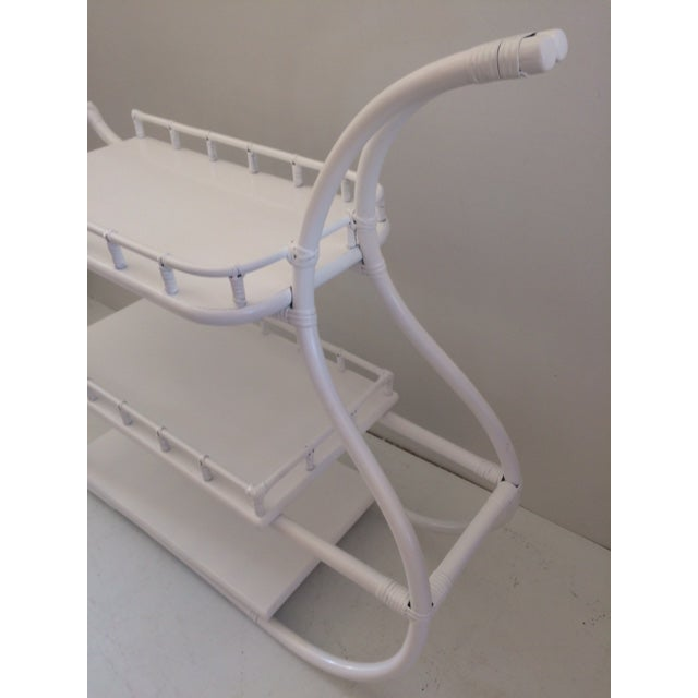 1970s Regency White Rattan Regency Bar Cart For Sale - Image 9 of 13