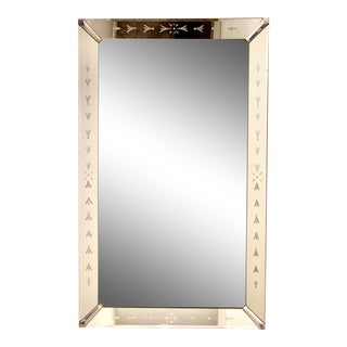 1950's Etched Venetian Style Mirror Framed Mirror For Sale