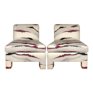 Modern Sherrill Furniture Slipper Chairs- A Pair For Sale