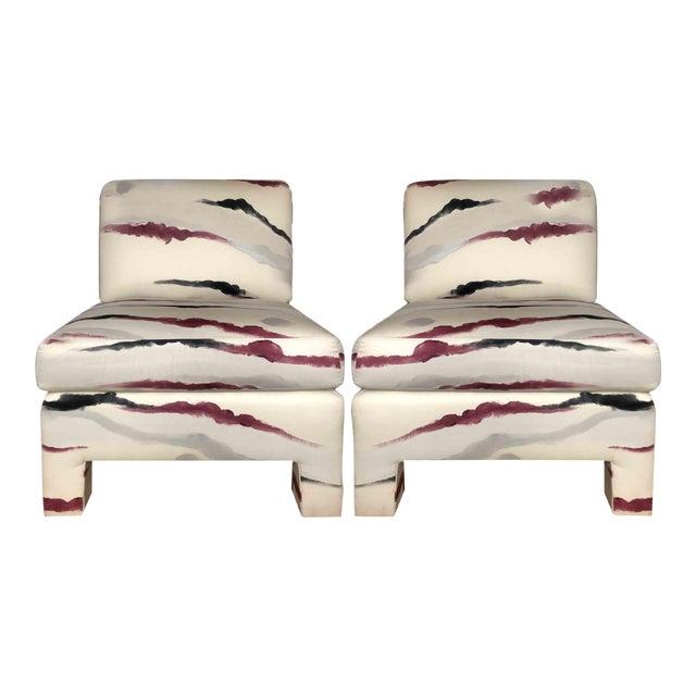 Modern Sherrill Furniture Slipper Chairs- A Pair For Sale