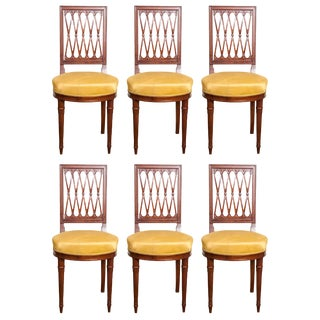 Vintage Mid Century Louis XVI Style Mahogany Side Chairs - Set of 6 For Sale