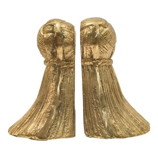 Vintage Brass Rope Bookends - a Pair For Sale