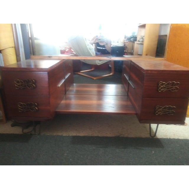 Wood Mid Century Walnut Vanity With Hairpin Legs and Mirror For Sale - Image 7 of 11
