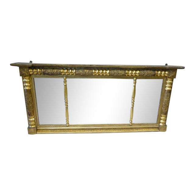 Early 19th Century Gilded Empire Overmantle Mirror For Sale