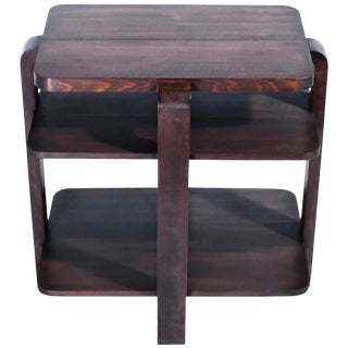 French Art Deco Modernist Mahogany Side Table, 1940s For Sale