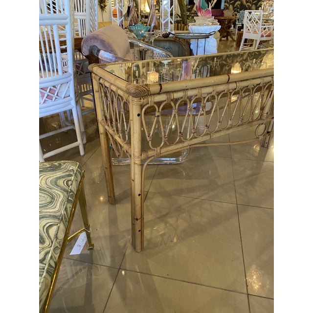 Vintage Tropical Palm Beach Rattan Glass Top Console Sofa Table For Sale - Image 10 of 12