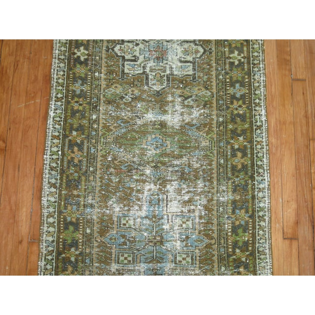 Persian Shabby Chic Heriz Runner - 2'9'' x 10'8'' For Sale - Image 5 of 6
