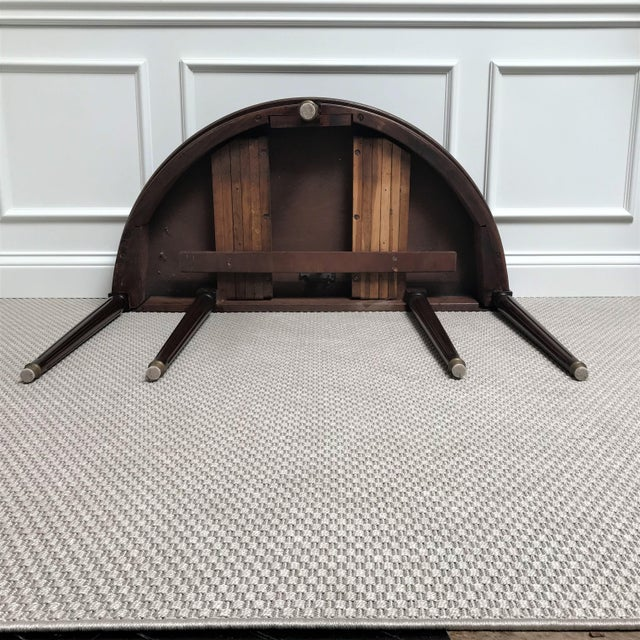 19th Century Louis XVI Revival Mahogany & Brass Demi Lune Console Table For Sale - Image 12 of 13