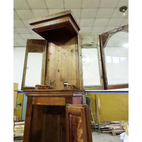19th Century Antique French Tall Oak Clock Case and Non Working Clock For Sale - Image 9 of 12