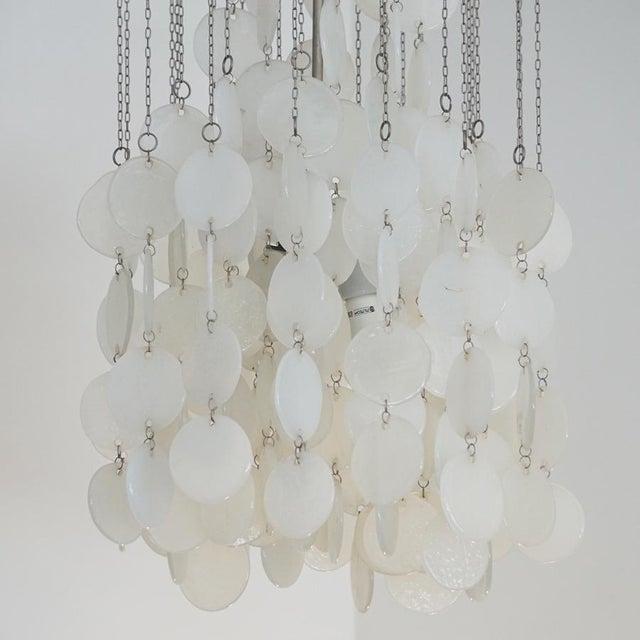 Mid-Century Modern Mazzega Murano Cascade White Glass Disk Chandelier For Sale - Image 3 of 9