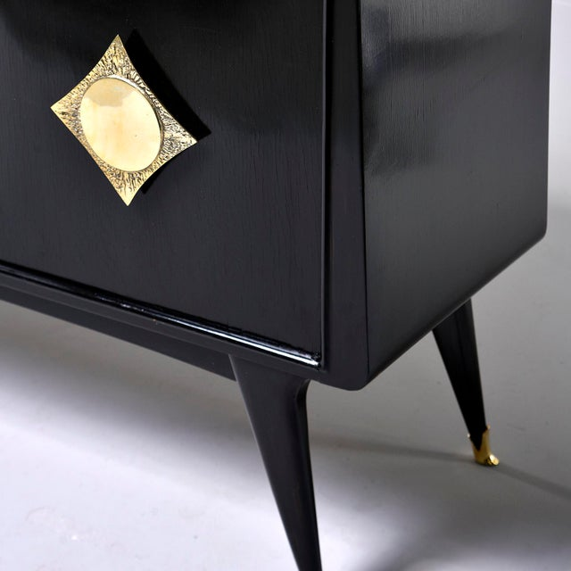 Brass Italian Ebonised Sideboard With Brass Knobs For Sale - Image 7 of 13