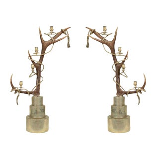 1970s Antler Candelabra by Anthony Redmile - a Pair For Sale