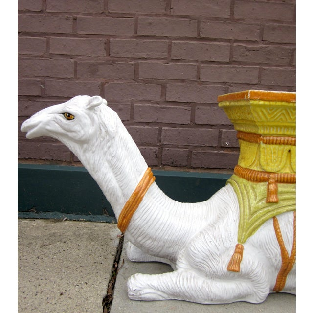 Ceramic 1970s Vintage Italian Majolica Glazed Terra Cotta Ceramic White and Yellow Hand Painted Camel Statue Garden Seat For Sale - Image 7 of 11