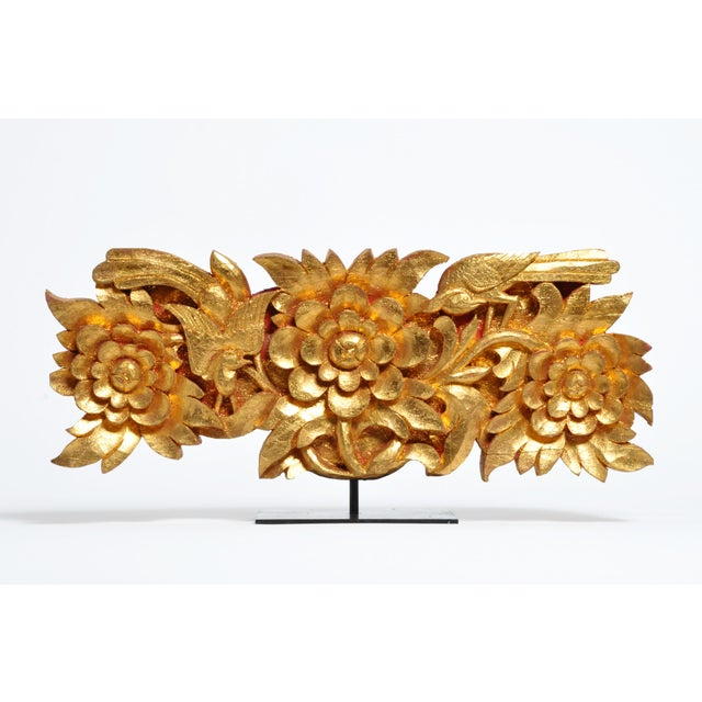 Teak Wood Carving With Gold Paint on Metal Stand For Sale - Image 13 of 13
