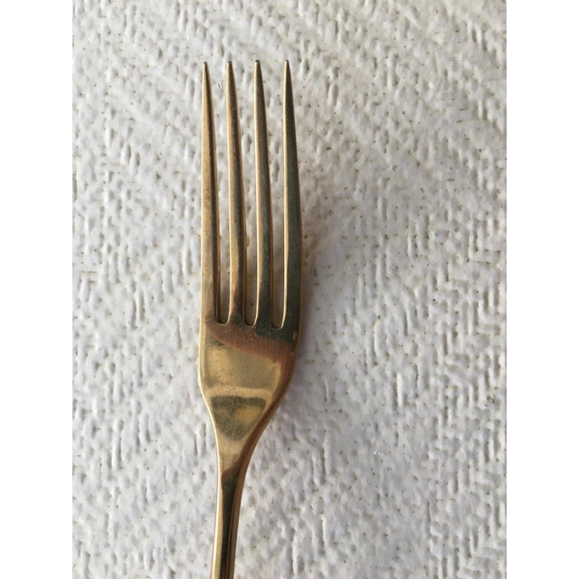 1960s Mid-Century Modern 6-Place Gold Plated Flatware Set For Sale In Miami - Image 6 of 11