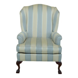 Beachly Striped Upholstered Wing Backed Chair W. Claw Feet For Sale