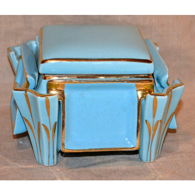 Canonsburg China Keystone Art Deco turquoise ceramic cigarette box with four individual ashtrays, c. 1920's. Stunning and...