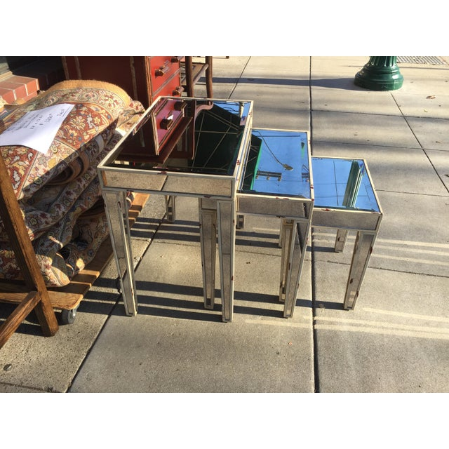 Modern Mirrored Nesting Tables - Set of 3 For Sale - Image 3 of 7