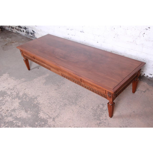 French Baker Furniture French Regency Louis XVI Style Burled Walnut Coffee Table, Newly Restored For Sale - Image 3 of 12