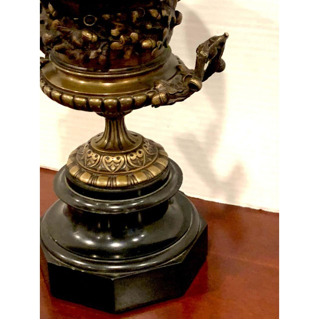 Bronze Grand Tour Bronze and Marble Acorn Motif Urn For Sale - Image 8 of 13