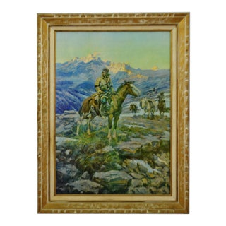 Vintage Large Framed c.m. Russell Free Trappers Giclee Print on Canvas For Sale