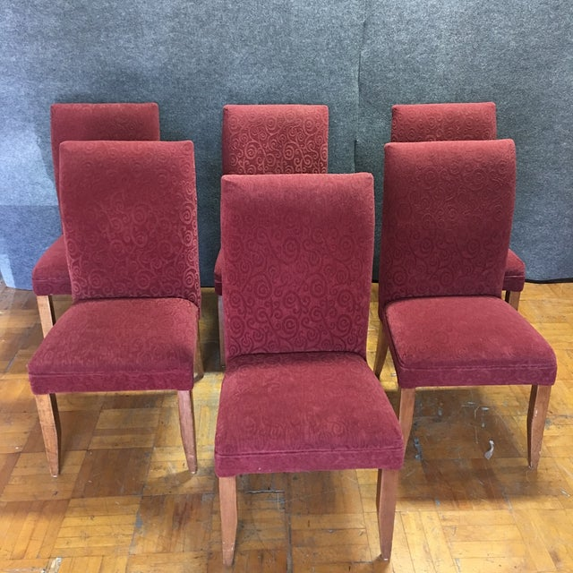 Red Armless Chairs - Set of 6 - Image 3 of 9