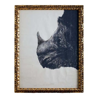 Large Framed Drawing of a Baby Rhino Head For Sale