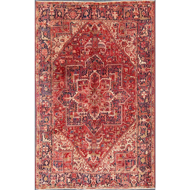 1950s Vintage Persian Heriz Red Medallion Rug - 8′ × 11′9″ For Sale - Image 13 of 13