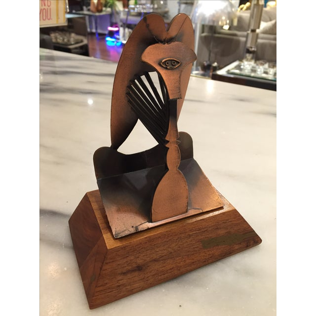"""Beautiful bronze reproduction of the Chicago Picasso sculpture titled """"The Lady"""" dates on the back 1967 Pub. Bldg. Comm...."""