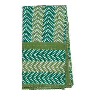 Chevron Hand Stitched Quilted Tablecloth, 6-seat table - Green For Sale