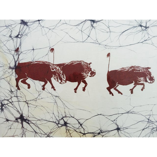 Primitive Batik Safari Wild Boars Print For Sale - Image 3 of 8