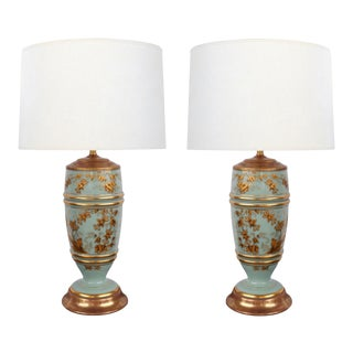 1940's French Pale-Blue Opaline Glass Lamps With Gilt Decoration - a Pair For Sale