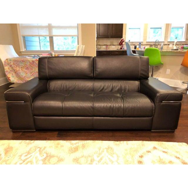 Natuzzi Italia Avana Black Leather Sofa Set - 2 Pc.   Chairish