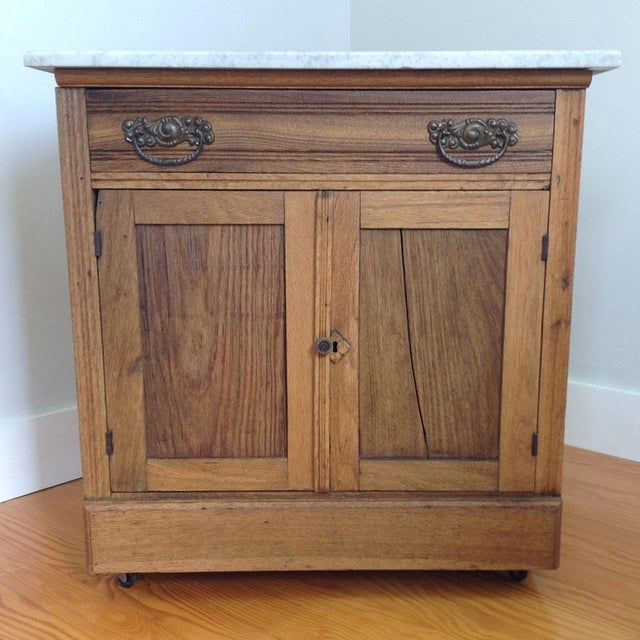 Early 20th Century Country Oak and Marble Washstand Cupboard For Sale - Image 10 of 10