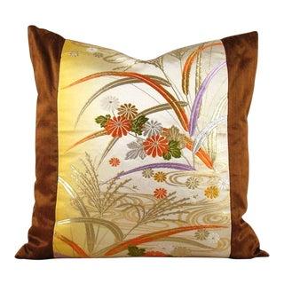 Streamside Floral Vintage Japanese Obi Pillow Cover For Sale