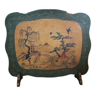 1920s Arts and Crafts Asian Wooden Fireplace Screen For Sale