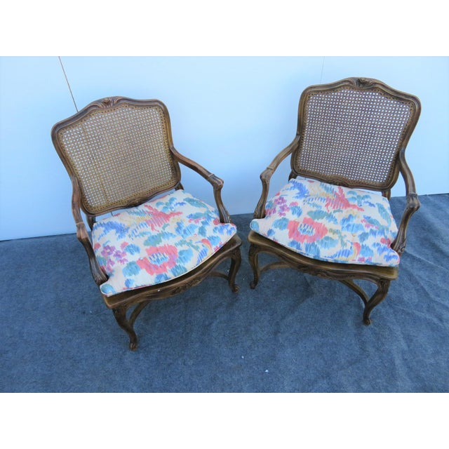 Mid 20th Century Louis XV Oak Caned Open Arm Chairs - a Pair For Sale - Image 4 of 7